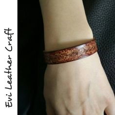 Brown leather bracelet with braid ornament, handmade hand tooled leather cuff, wristband, vegetable tanned leather in my Etsy shop https://www.etsy.com/uk/listing/464621003/brown-leather-bracelet-with-braid