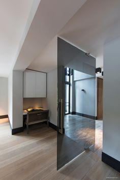 Smoked glass swing door