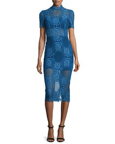 Delila+3/4-Sleeve+Lace+Midi+Dress,+Passionate+Blue+by+Alexis+at+Bergdorf+Goodman.