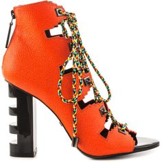 Kat Maconie Women's Betsey - Vivid Coral ($258) ❤ liked on Polyvore featuring shoes, sandals, orange, high heel sandals, orange high heel shoes, coral shoes, coral sandals and cutout sandals