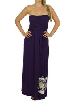 Beautiful deep purple strapless maxi dress with draped overlap design and big flower print on lower bottom of dress.   Strapless Maxi Dress by Moa Moa. Clothing - Dresses Oregon