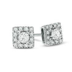 1/4 CT. T.W. Diamond Square Frame Stud Earrings in 10K White Gold - Jewelry Earrings PV - Gordon's Jewelers