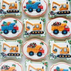 Christmas Dump Truck & Digger cookies