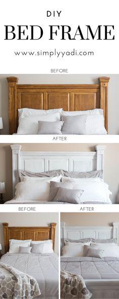 Great idea – really good modern bedroom furniture - white bedroom furniture Painted Bed Frames, Painted Beds, Painted Bedroom Furniture, Refurbished Furniture, Bed Furniture, Furniture Ideas, Refurbished Phones, Kitchen Furniture, Furniture Design