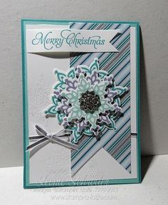 Mojo Flurry Stampin Up! Festive Flurry Bundle, Winterfrost Specialty DSP, Embossing and the divine Frosted Finishes Embellishments.  Love this bundle and those little blingy embellishments!  Come and make this card at Card and Cake on 22nd October