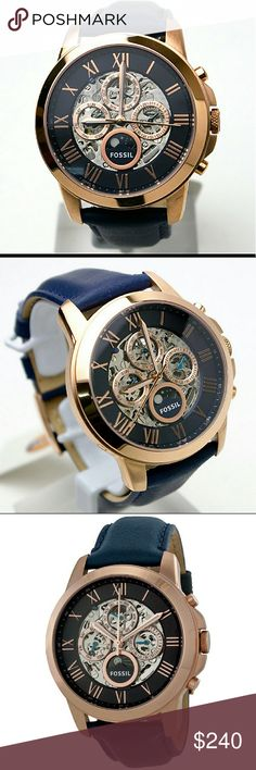 NWT Fossil Automatic Skeleton rose gold/blue watch NWT FOSSIL Grant Multi-Function Skeletal Dial Rose gold Navy Leather Men's Watch.  FIRM PRICE   $240.00 . AUTHENTIC WATCH  . AUTHENTIC BOX  . AUTHENTIC MANUAL    SHIPPING  PLEASE ALLOW FEW BUSINESS DAYS FOR ME TO SHIPPED IT OFF.I HAVE TO GET IT FROM MY WAREHOUSE.    THANK YOU FOR YOUR Fossil  Accessories Watches