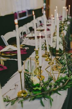 Candlesticks, geometric shapes, and greenery - love this modern wedding table decor | Image by This Rad Love