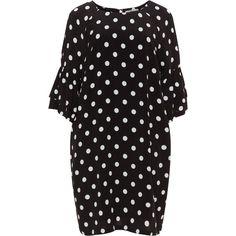 Mat Black / White Plus Size Polka dot dress ($68) ❤ liked on Polyvore featuring dresses, black, plus size, womens plus dresses, white day dress, plus size rayon dresses, print dresses and plus size print dress