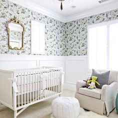 A Moroccan pouf in the nursery serves as a great foot stool or just a place to sit while you admire your sleeping baby. #ptbaby #nurserydecor