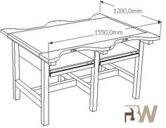 """Regularly I build custom workbenches to suit thespecifications of the user. You give me a description of what you are looking forand I will make a rapid 3d sketch so you can have a clear imageof the project. The example below is from a 4-person workbenchthat i made for """"jewels design"""", they organise short workshops … Jewelers Workbench, Clear Desk, Jewellers Bench, Studio Organization, Homemade Tools, Bench Plans, Woodworking Bench, Dremel, Workshop"""