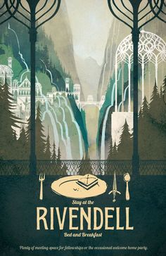 Lord of the Rings Poster Rivendell Bed and by TheGreenDragonInn