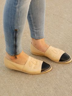 Chanel espadrilles, ankle zip jeans