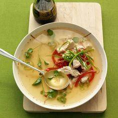 This nutritious soup uses poached chicken and Asian sauces for an extra kick.