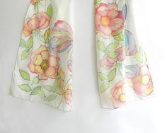 Pastel colored butterflies silk scarf. Hand by ArmeniaOnSilk