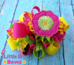 Pink Green and Yellow Spring Flower Feltie by LittleBitBows