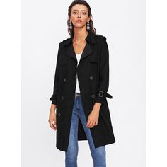 SheIn(sheinside) Raw Edge Suede Trench Coat (€30) ❤ liked on Polyvore featuring outerwear, coats, black, suede coat, suede leather coat, long coat, suede trench coats and double-breasted coat