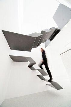 Black And White Stylish And Elegant Floating Staircase Design   Büro.Loft  Designed By Schlosser + Partner.