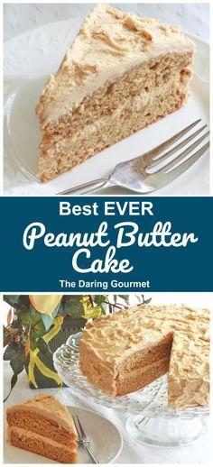 Killer Peanut Butter Cake Recipe - The Daring Gourmet Best Peanut Butter, Peanut Butter Frosting, Peanut Butter Recipes, Easy Peanut Butter Cake, Peanut Butter Birthday Cake, Cupcake Recipes, Cupcake Cakes, Dessert Recipes, Cupcakes