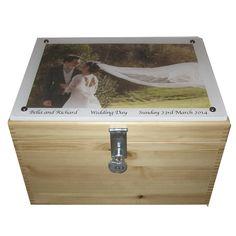 XL Natural Pine Wedding Box with Photo on Acrylic