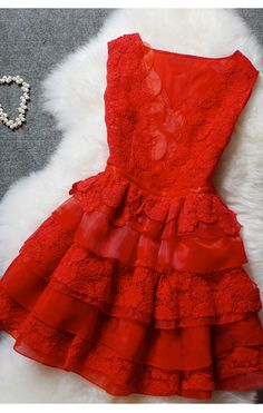 In love with this dress--- from the neckline to the ruffles,from the textures to the gorgeous lace detailing, and its red!! This dress is a multifaceted showstopper that would be perfect for just about any occasion!:: Vixen in Red:: Vintage Fashion:: Retro Style:: Get in My Closet!