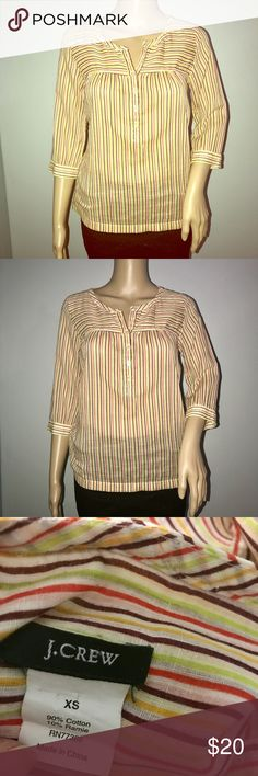 J. Crew striped summer top shirt w pockets sz xs Multicolor. Great for summer. Beautiful button down shirt with pockets. Size xs. Loose fit. It has a small thread pull on the back of the shirt by the neck area, otherwise in great condition. J. Crew Tops Blouses