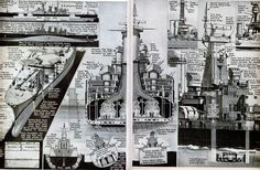 Battleship Cross-section based on the USS North Carolina class battleship - From Popular Science