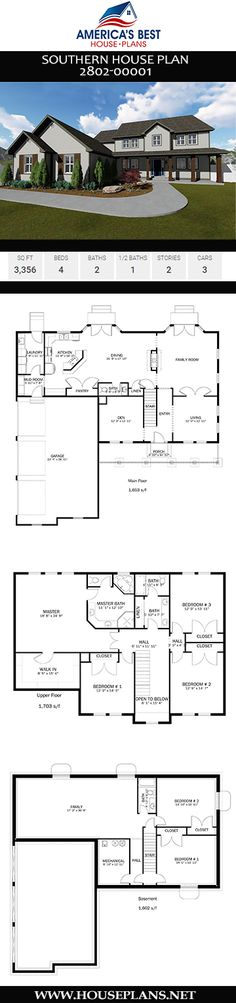 Plan 2802-00001 details a stunning 2-story Southern house plan comprised of 3,356 sq. ft., 4 bedrooms, 2 bathrooms, a mud room, a formal living room, and a 3 car garage. Southern House Plans, Southern Homes, Jack And Jill Bathroom, Floor Framing, Floor Layout, Sims 4 Houses, Best House Plans, Formal Living Rooms, Architecture