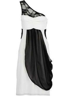 Voir:Offrez-vous une allure de star ! Robe une bretelle, raffinée par ses empiècements en dentelle transparente sur l'épaule et à la taille, stylisée par son joli drapé en voile de chiffon sur le devant, maille jersey fluide et agréable à porter, long. env. 96 cm.