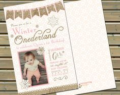 This pink and gold front-and-back printed invitation is perfect for your baby girls Winter Onederland or Wonderland birthday party! You can