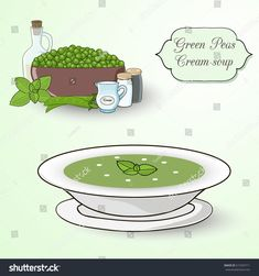 Green peas and mint cream soup set. Ingredients and soup in the plate on the light green background.