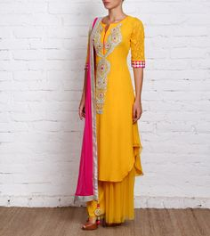 Yellow Georgette Palazzo Suit with Gota Work. Panee