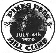 1970 Pikes Peak Hill Climb logo with an open wheel championship car