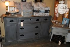 Beautiful buffet done in #MaisonBlanchePaint Confederate Gray with light wax and #Fiddes Jacobean wax. #ChalkPaint #Furniture #Painting #ShabbyChic