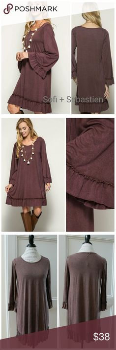 Boho Ruffled hem tunic dress easy fit casual SOFT Color is red bean,  a brownish or dusty burgundy Acid washed  Sorry, NO TRADES  Price firm unless bundled   Save money and bundle! Save 10 percent on any bundle of 2 or more items! Sofi + Sebastien  Dresses