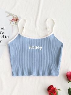Light Blue Standard Embroidery Letter Spaghetti Short Fashion Ribbed Cropped Honey Embroidered Tank Top in 2020 Cute Lazy Outfits, Crop Top Outfits, Trendy Outfits, Girls Fashion Clothes, Teen Fashion Outfits, Girl Outfits, Trendy Fashion, Womens Fashion, Jugend Mode Outfits