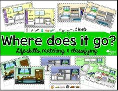 This is a set of classifying activities to help students classify items that belong in a specific household setting. Settings included are bathroom, kitchen, dining room, laundry room, and bedroom. Students will determine where each item goes and Velcro the item picture cards underneath the correct scene.This set includes 2 differentiated levels and 10 mats.