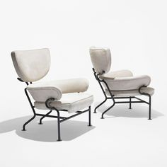 Franco Albini. Tre Pezzi lounge chairs. Italy, 1957. Upholstery, enameled steel, enameled aluminum. 30.5 w x 32 d x 36 h inches.