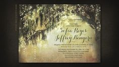 vintage wedding invitation with spanish moss tree and string lights