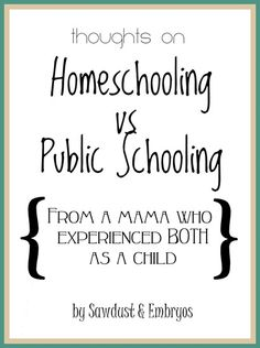 Interesting perspective from a mama who experienced both homeschooling and public schooling as a child {Sawdust and Embryos}