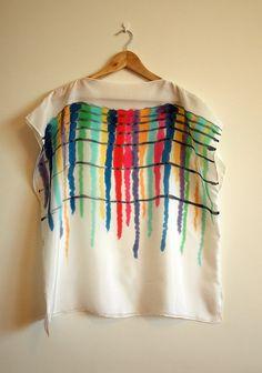 Silk blouse hand painted-Silk scarf-Wedding blouse- Scarves for her-Wedding silk top-Silk handpainted - Ooak silk blouse