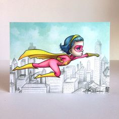 Super Girl - Change the World - signed 4 x 5.75 Mini Art Print by Mab Graves - unframed