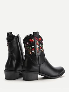 Shop Calico Embroidered Block Heeled Ankle Boots online. SheIn offers Calico Embroidered Block Heeled Ankle Boots & more to fit your fashionable needs. Block Heel Ankle Boots, Block Heels, Boots Online, Amp, My Style, Shopping, Shoes, Fashion, Zapatos