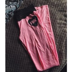 Victoria's Secret Pink Black Lace Pajama Bottoms Light pink PJ bottoms with a black lace waistband! Super adorable! They are a bit see through so I don't recommend wearing them outside. Only worn a couple times. PINK Victoria's Secret Intimates & Sleepwear Pajamas
