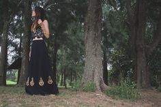 Vintage LONG SKIRT, Maxi skirt Black skirt Gold emblem Handmade 70s maxi High waisted A-line skirt Boho chic Mod Hippie Hippy , Small