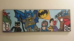 Ready to Ship 12 x 36 Canvas Wall Art: Lego Batman and Villains Painting, Ready to Hang. on Etsy, $90.00