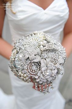 Pearl and crystal brooch bouquet