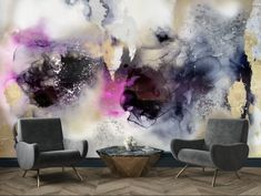 """""""Raspberry Shadow """" is a hazy combination of magenta, gray, silver and shades of both silver and gold. Misty shapes, and smokey blends make our wall mural the perfect pop for a hallway or bedroom. Create real silver tones with the complimentary kit to transfer silver leaf onto the abstract, digital printed design. The """"Raspberry Shadow"""" mural is an authentic Blueberry Glitter painting converted into a large wall mural. Watercolor Wallpaper, Abstract Watercolor, Abstract Art, Large Wall Murals, Removable Wall Murals, Silver Wallpaper, Prepasted Wallpaper, Glitter Paint, Traditional Wallpaper"""