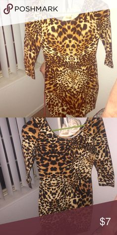 Leopard Print Bodycon Dress Very fun and flattering dress only worn once Charlotte Russe Dresses Mini