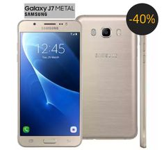 """Smartphone Samsung Galaxy J7 Duos Metal Dourado com 16GB, Dual chip, Tela 5.5"""", 4G, Câmera 13MP, Android 6.0 e Processador Octa Core de 1.6 Ghz"""