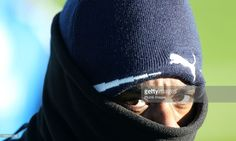Nathan Dyer wraps up warm during the Leicester City training session at Belvoir Drive Training Complex on January 15, 2016 in Leicester, United Kingdom.